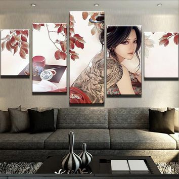 Girl with Dragon Tattoo Canvas Set
