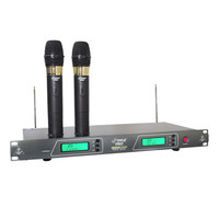 Pyle 19'' Rack Mount Dual VHF Wireless Rechargeable Handheld Microphone System