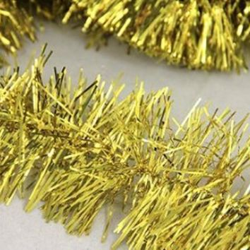 50' Shiny Gold Festive Christmas Foil Tinsel Garland - Unlit - 6 Ply (Pack of 3)