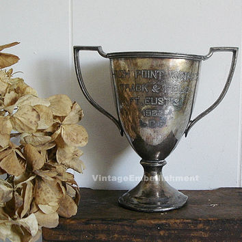 Antique Trophy, 1926 Track & Field Trophy Cup, Engraved Loving Cup Fort Eustis VA