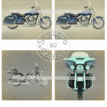 Harley Altered Art Soft Sketch Art Blue Road King & Black Ultra Classic - Coasters Artwork, 4.0 inch Squares, Arts and Craft Projects