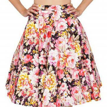 Black Floral Pleated A-Line Midi Skirt