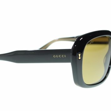 Gucci Women Oval Sunglasses GG0049S 001 Black/Brown Lens 57mm Authentic