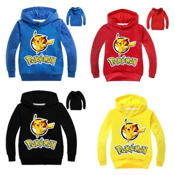 Pokemon Fashion lovely round neck long-sleeved Boys and girls hooded sweater Kids(Yellow,Red,Black,Blue,100-110-120-130-140) [9305887687]