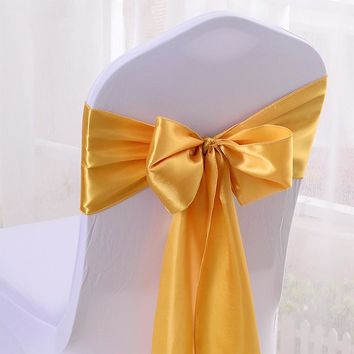 Multicolor Satin Silk Cloth Chair Seat Back Cover Bow Sash Bands Ribbon Wedding Party Banquet Chair DIY Decoration 17*270cm