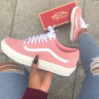 Vans Old Skool Classic Pink Flats Sneakers Sport Shoes