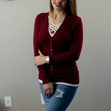 All Buttoned Up Cardigan - Cranberry