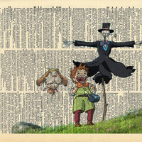 Howls Moving Castle Markel and Turnip Head Print on and Anituqe Upcycled Bookpage