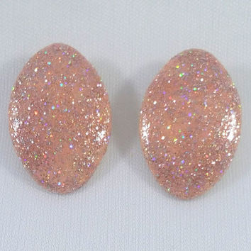 Glitter Shimmer Sparkle Shine Up Cycled Vintage Clip On Earings Repurposed 1950s Oval Button Style Tracy B Designs Custom Jewelry Design