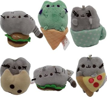"3"" Pusheen Plush Toys Pusheen Cat With Food Style Plush Pendant Key Chain Soft Stuffed Animals Toys Doll for Kids Children Gift"