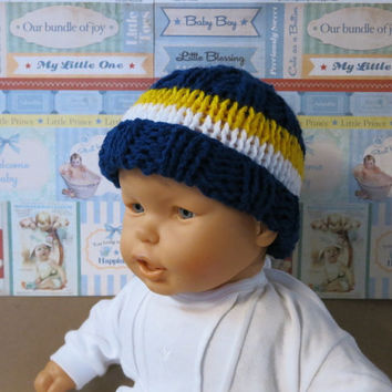 Knitted Baby Hat,  AFL Eagles Football Baby Beanie,  0 Months to 4 Years, Baby Shower Gift, Nchanted Gifts AFL Team West Coast Eagles
