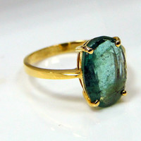 18 CTS solid gold oval cut Colombian emerald Ring jewelry - 7804
