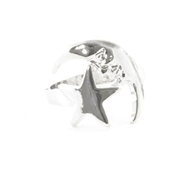 Crescent Man in the Moon Ring Silver Tone Star Statement RL27 Fashion Jewelry