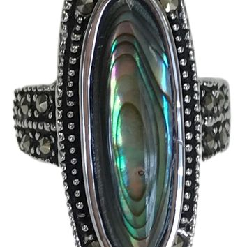 Genuine Abalone and Marcasite Statement Ring in Rhodium