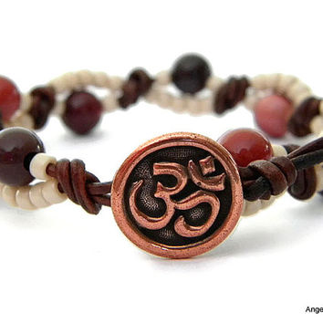 Om Wrap Bracelet Entwined Leather Wrap Mookaite Om Bracelet