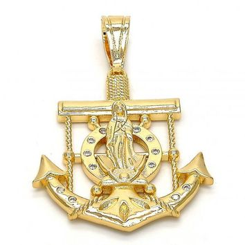 Gold Layered 05.120.0011 Religious Pendant, Anchor and Guadalupe Design, with White Cubic Zirconia, Polished Finish, Gold Tone