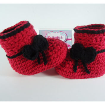 "Crochet Baby booties, Baby shoes, Custom baby shoes, fashion baby shoes, baby accessories - For him and for her - Up to 12 cm (4.7"")"