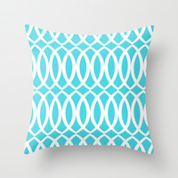 New Lattice in Cyan Throw Pillow by House of Jennifer