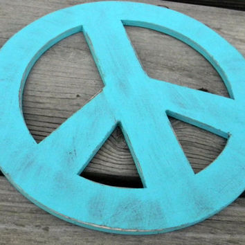 Wood Teal Peace Sign Wall Hanging Home Decor