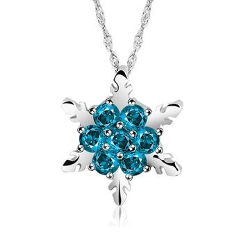 2018 New 5 Colors Charm Vintage Blue Crystal Snowflake Zircon Flower Silver Necklaces Pendants Jewelry for Women best year gift