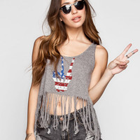 Full Tilt American Peace Womens Open Back Tank Heather Grey  In Sizes