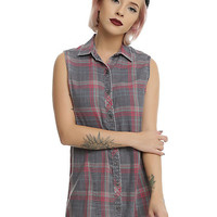 Red & Grey Sleeveless Plaid Girls Tunic Woven Button-Up
