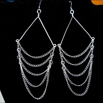 Silver Multiple Chain Hand Sculpted Sterling Silver Dangle Earrings