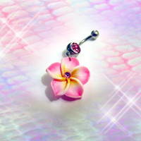 Belly Ring, Exotic Pink Hawaiian Plumeria Flower, With Pink Crystal Belly button Navel Ring, Belly Button Jewelry For Women and Teens