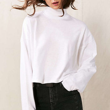 Vintage Oversized Mock Neck Long-Sleeved Shirt - Urban Outfitters