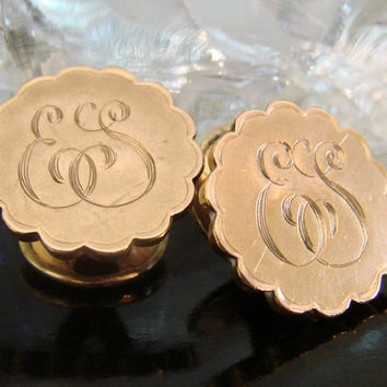 "Victorian Heavy Gold Plate Cuff Buttons * Cuff Links * Monogram ""ES"" * 1800s Mens Jewelry * Wedding *  Antique Cufflinks"