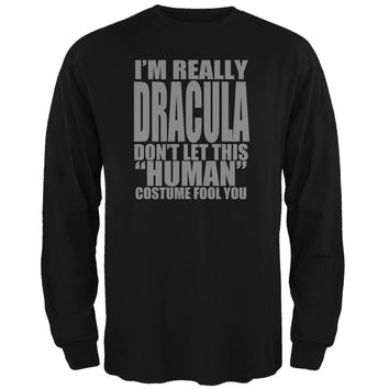 Halloween Human Dracula Costume Black Adult Long Sleeve T-Shirt