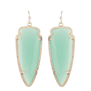Kendra Scott Skylar Chalcedony Glass Earrings 14K Gold Plated