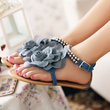 Gladiator Beaded Flower Sandal