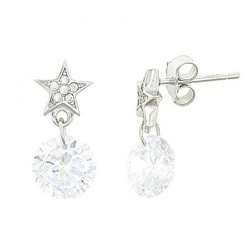 Sterling Silver 02.176.0023 Stud Earring, Star Design, with White Cubic Zirconia, Polished Finish, Rhodium Tone