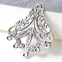 Antique Silver Flat Chandelier Earring Drops Filigree Pendant Charms 30x36mm Set of 10 pcs A8146