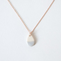 Zoe Comings Rose Gold Tiny Teardrop Necklace Light Grey Dip
