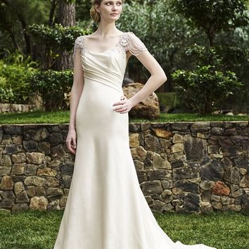 Casablanca Bridal Olive 2253 Beaded Flutter Sleeve Satin Fit & Flare Wedding Dress