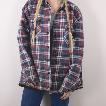 Vintage Red Navy Plaid Lined Flannel Jacket