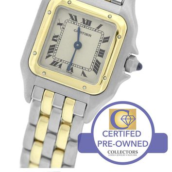 Ladies Cartier Panthere 18K Two Tone Gold Stainless White 22mm Quartz Watch 1120