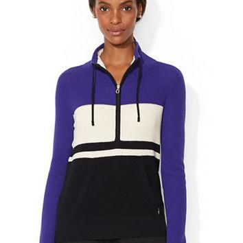 Lauren Ralph Lauren Color Blocked Half Zip Sweater