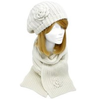 Amazon.com: Ivory Feminine Rosette Ribbed Knit Beret Hat & Scarf Set: Clothing