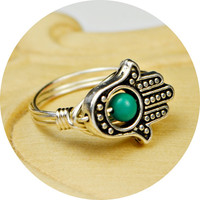 Hamsa Hand Ring- Sterling Silver Filled Wire Wrap Ring, Silver Plated Hamsa Hand and Turquoise-Any Size 4, 5, 6, 7, 8, 9, 10, 11, 12, 13, 14