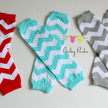 Chevron Leg warmers , Red , aqua , grey , baby legs , tights