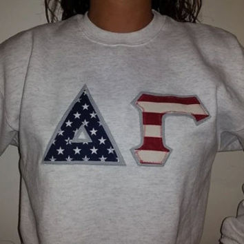 gray crew neck sororityfraternity lettered sweatshirt