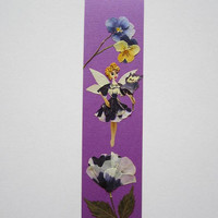 "Handmade unique bookmark ""Flower just for you"" - Pressed flowers bookmark - Unique gift - Paper bookmark - Original art collage."