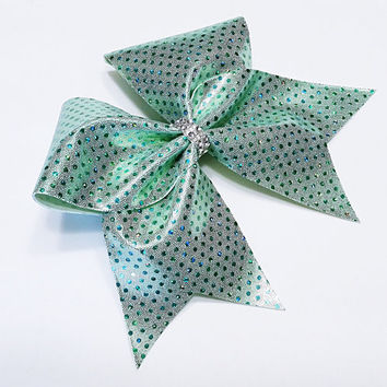 Cheer bow, mint green cheer bow, sequin cheer bow, cheerleading bow, cheerleader bow, cheerbow, softball bow, pop warner cheer bow dance bow
