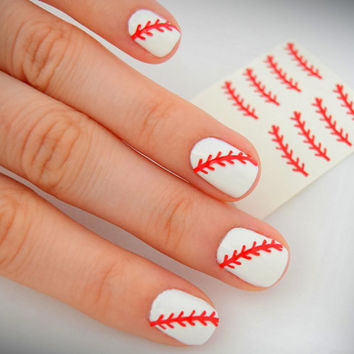 2 sets of RED NAIL ART / Baseball Nail Stitches / Stickers / Baseball Nails (2 sets included= 24 stitches)