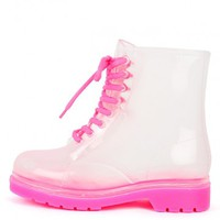 Luann-12 Clear Jelly Combat Boots | MakeMeChic.com