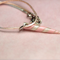 glitter pink pastel unicorn horn, polymer clay horn necklace, fairy kei jewelry, kawaii unicorn horn necklace, satin cord