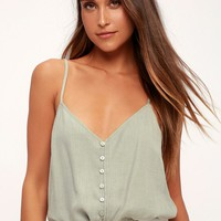 Eastport Dusty Sage Button-Up Cropped Tank Top